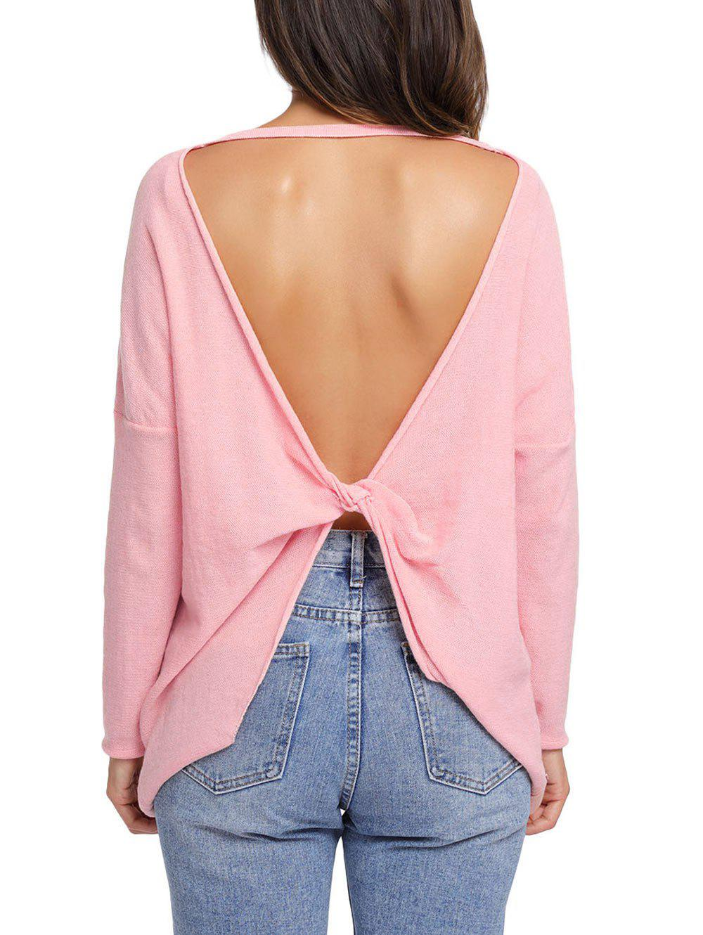 Dolman Sleeve Back Twisted Cut Out Tricots - ROSE PÂLE M
