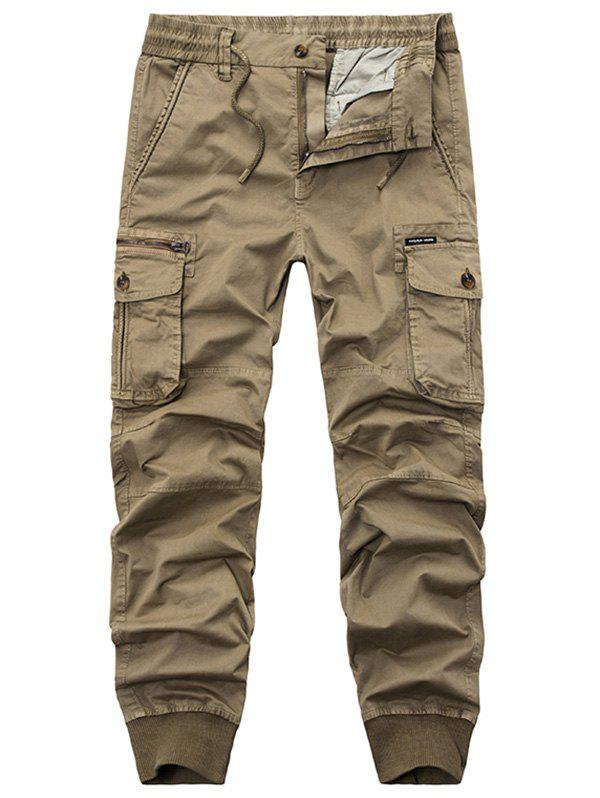 Flap Pockets Zipper Fly Cargo Jogger Pants - KHAKI 38