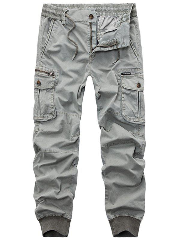 Flap Pockets Zipper Fly Cargo Jogger Pants - LIGHT GRAY 34