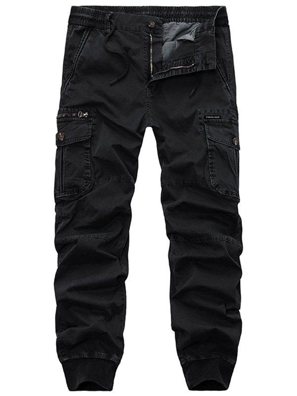 Flap Pockets Beam Feet Zip Fly Cargo Pants - BLACK 34