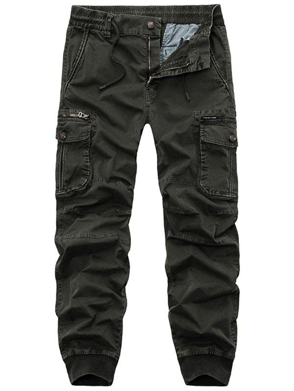 Flap Pockets Zipper Fly Cargo Jogger Pants - ARMY GREEN 34