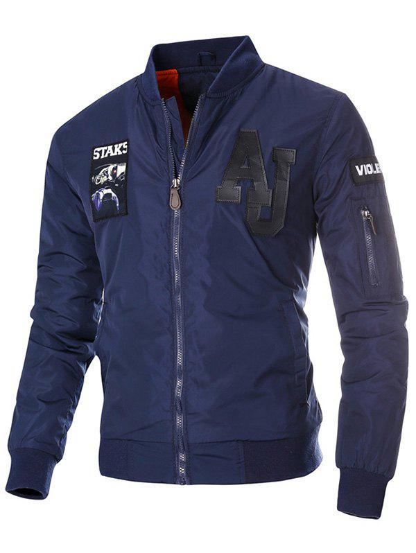 Zipper Up Patch Design Jolie Veste - Bleu Foncé 3XL