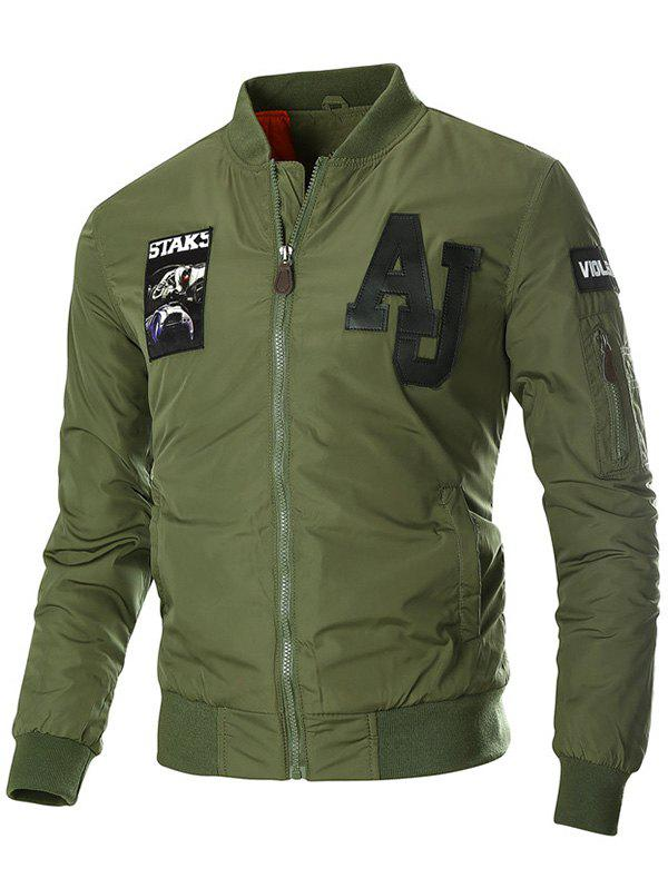 Zipper Up Patch Design Jolie Veste - Vert Armée XL
