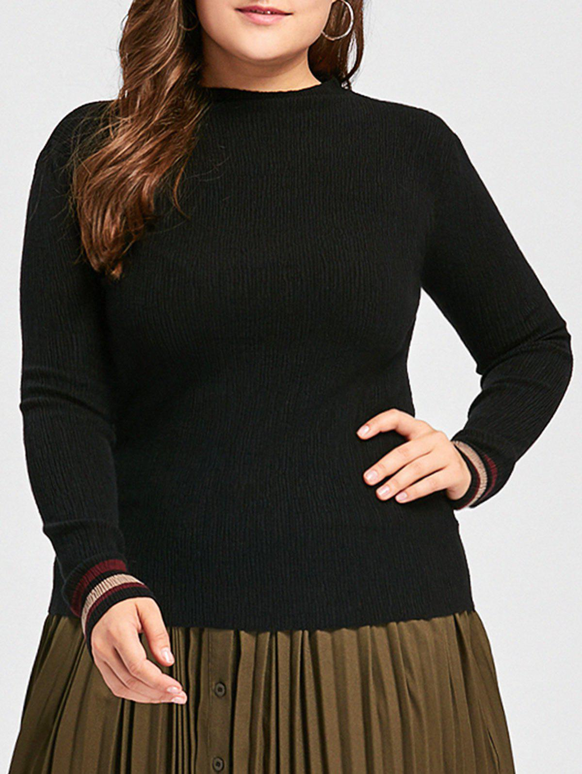 Plus Size High Neck Striped Sweater - BLACK 3XL