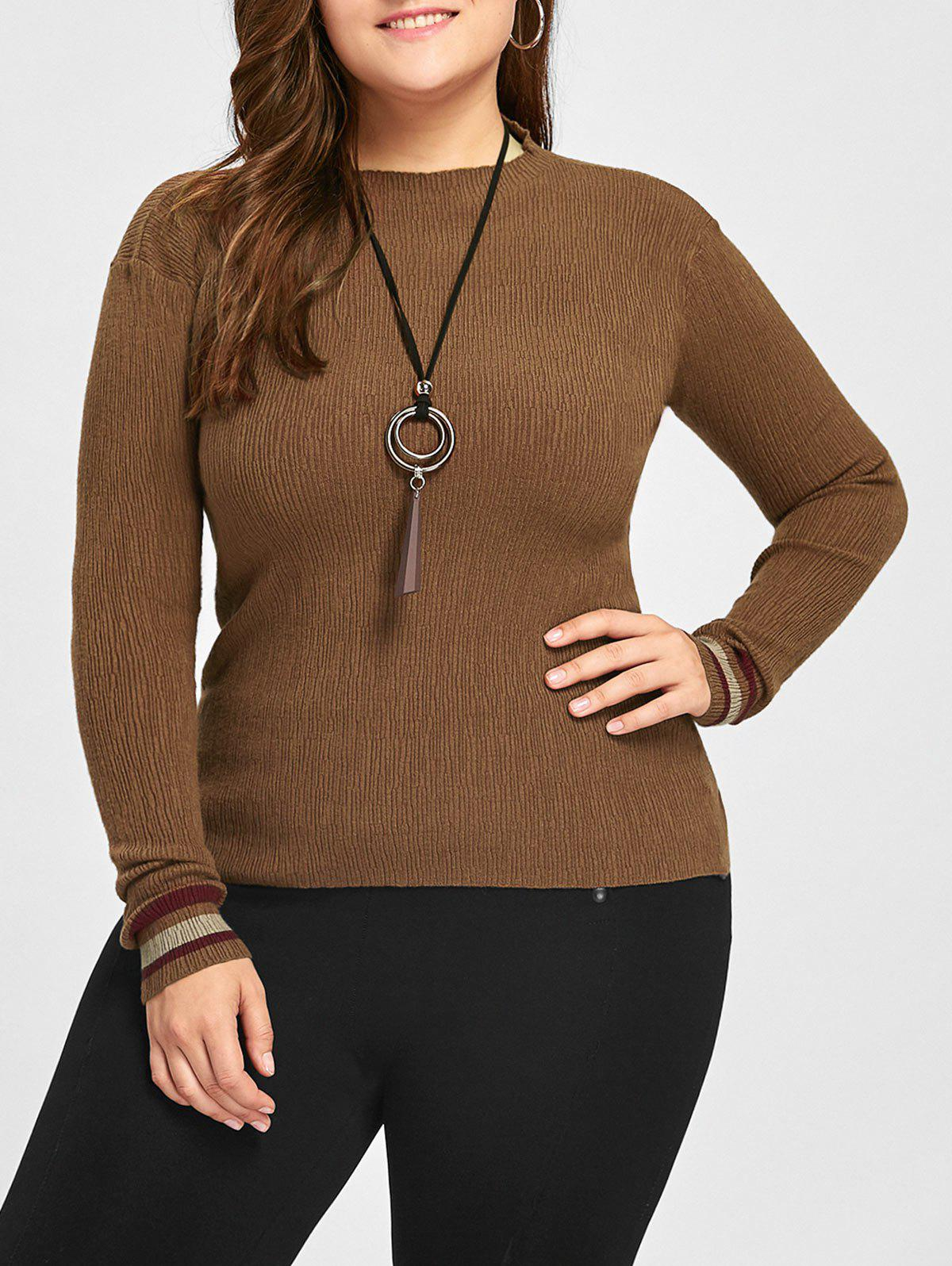 Plus Size High Neck Striped Sweater - COFFEE 5XL