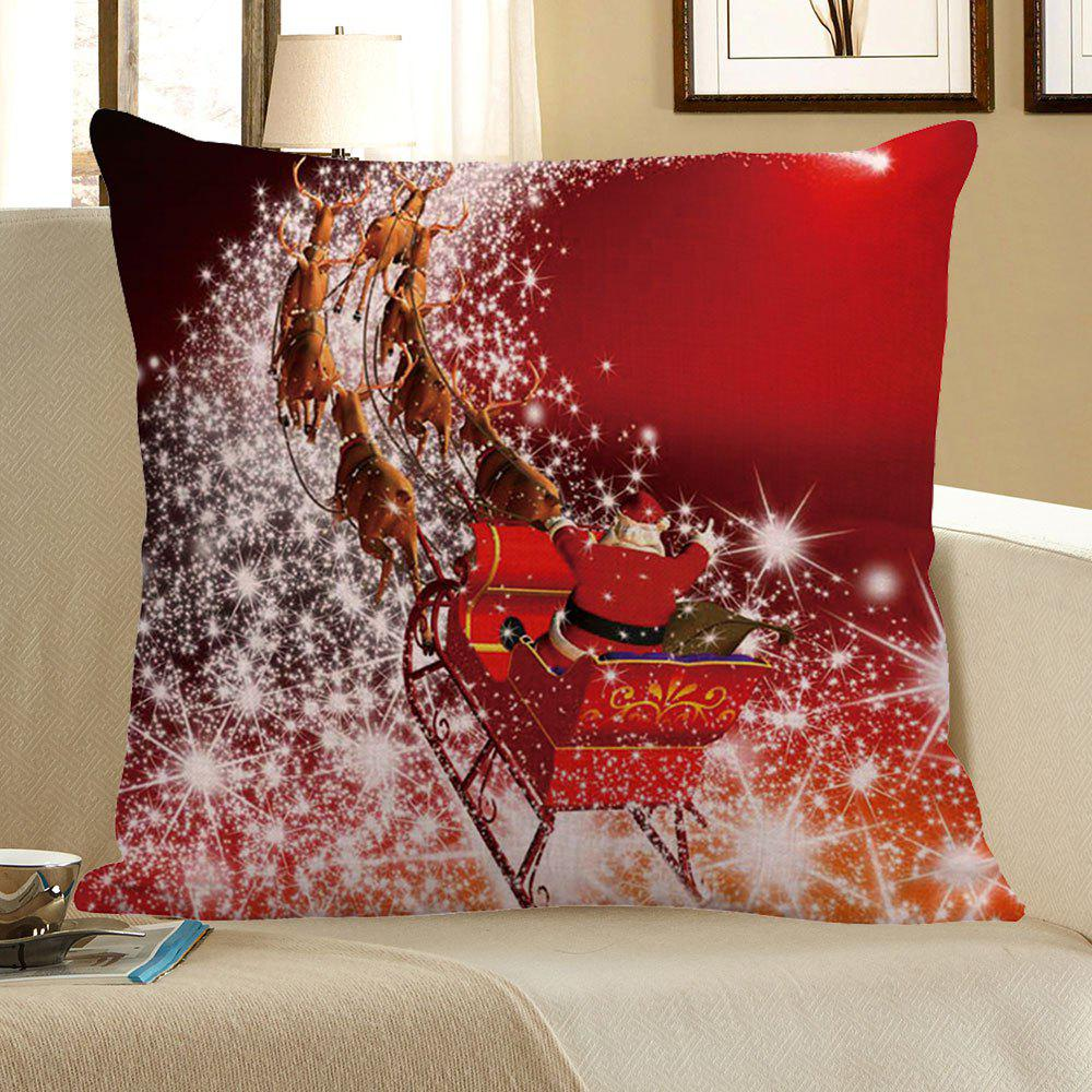Christmas Carriage Pattern Square Pillow Case - RED W18 INCH * L18 INCH