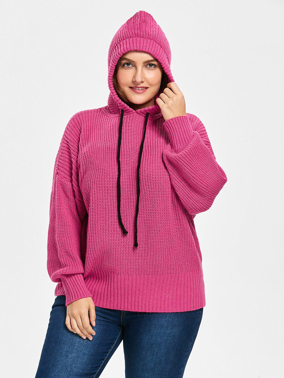 Drop Shoulder Hooded Plus Size Sweater - ROSE RED ONE SIZE