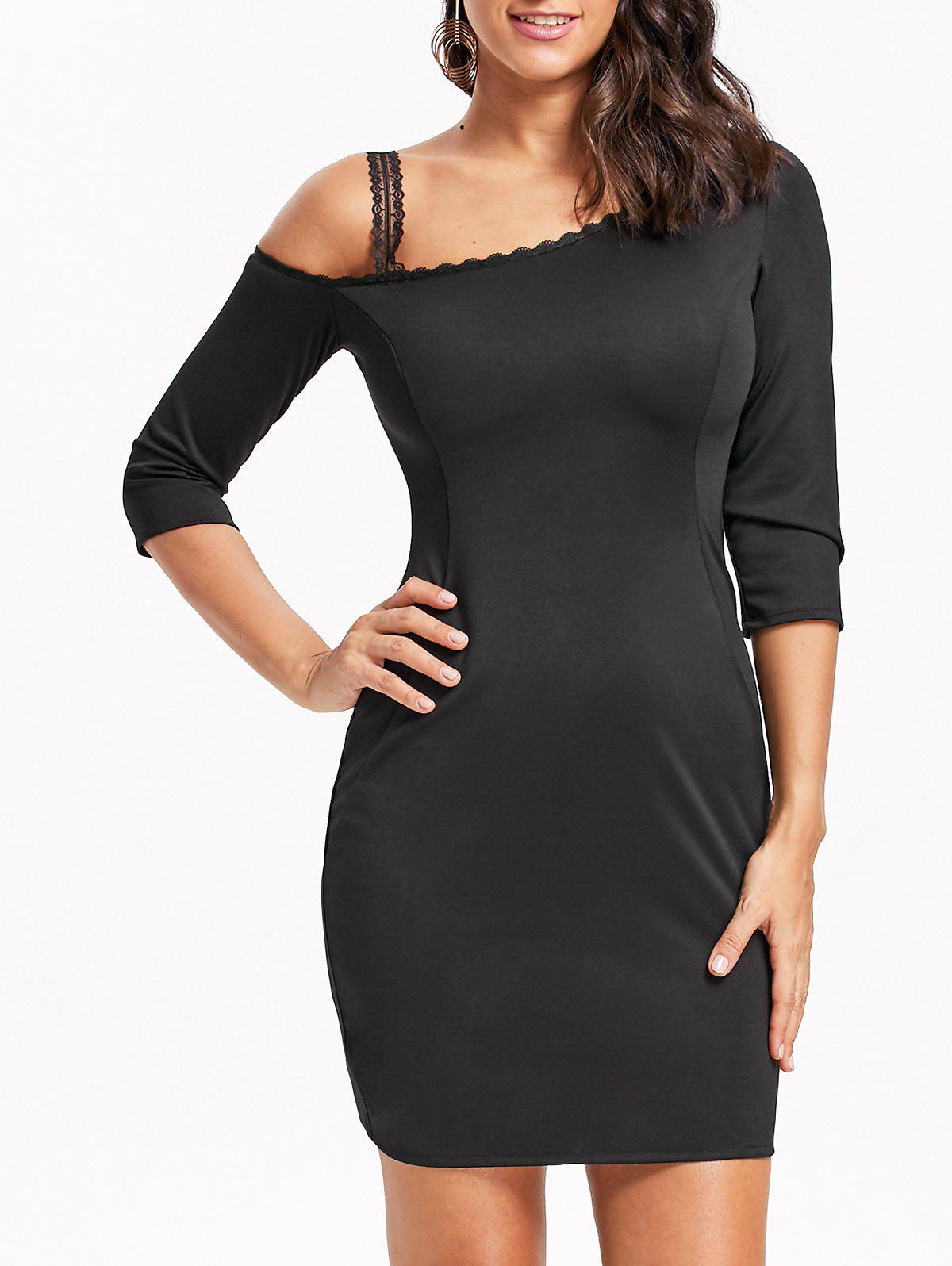 Skew Neck Lace Trim Bodycon Mini Dress - BLACK 2XL