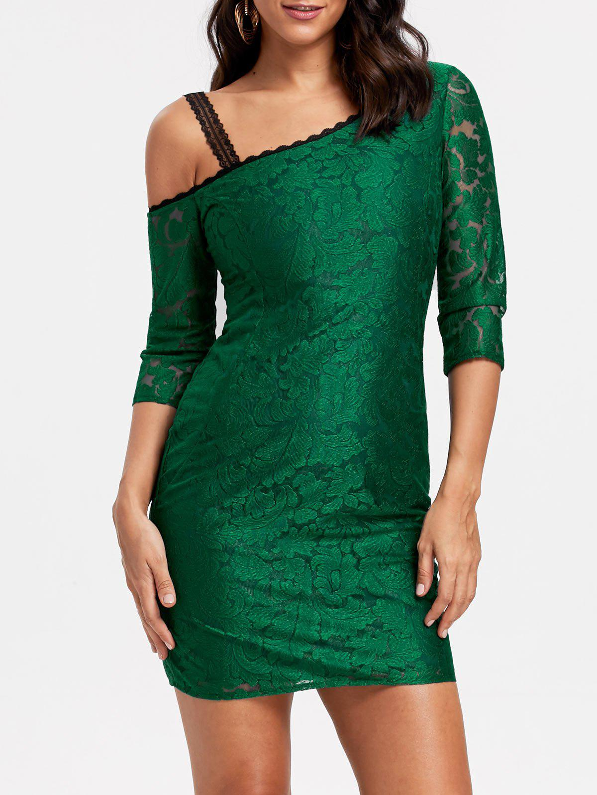 Floral Lace Skew Neck Bodycon Dress - GREEN XL