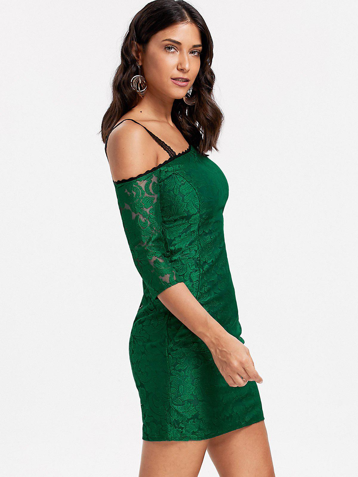 Floral Lace Skew Neck Bodycon Dress - GREEN S