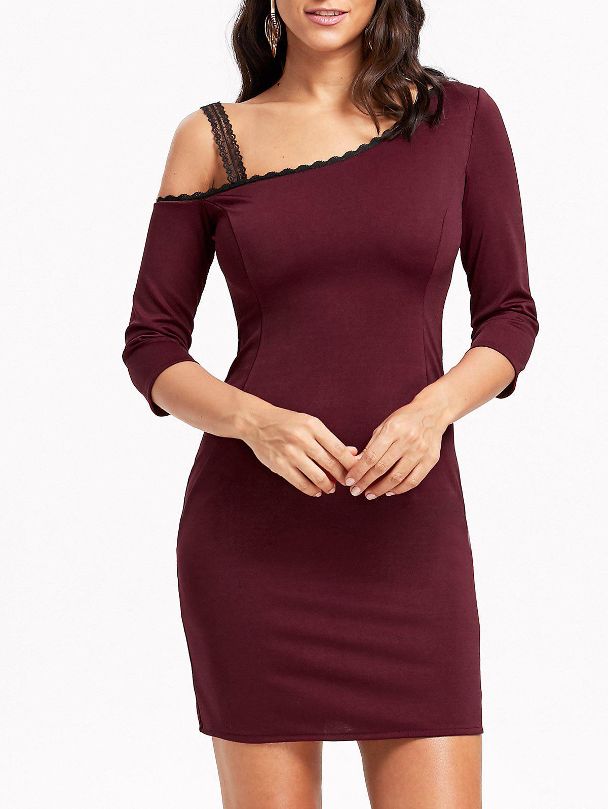 Skew Neck Lace Trim Bodycon Mini Dress - WINE RED XL