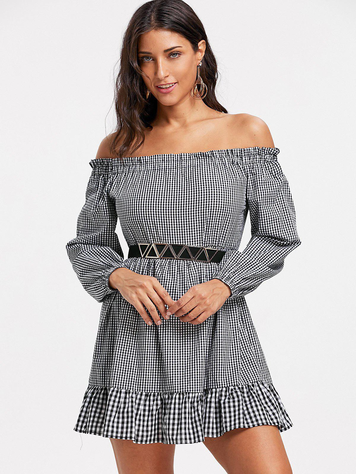 Off The Shoulder Plaid Drop Waist Dress - CHECKED L
