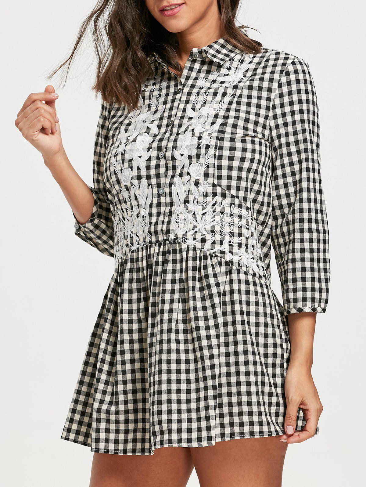 Drop Waist Plaid Floral Embroidered Dress - CHECKED L