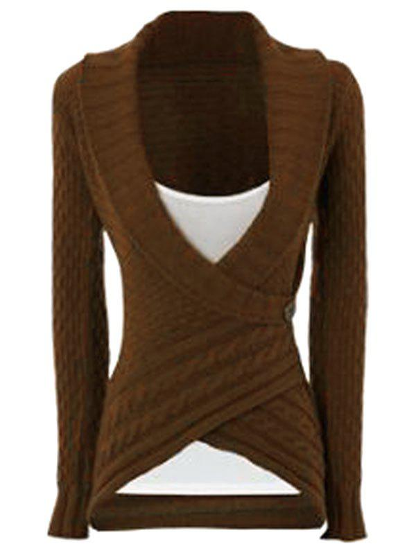 Chic Long Sleeve Turn-Down Neck Asymmetrical Women's Sweater - DARK KHAKI XL