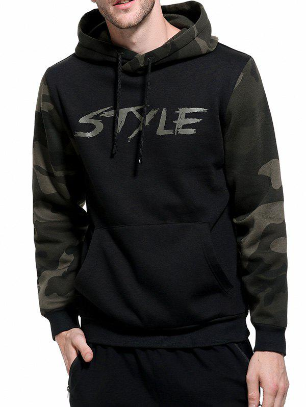 Graphic Print Camouflage Fleece Pullover Hoodie - BLACK M