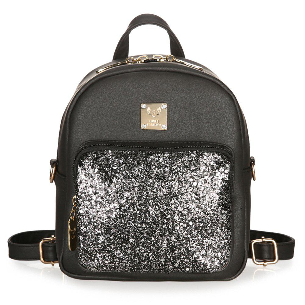 Dual Function Glitter Metal Crossbody Bag - BLACK