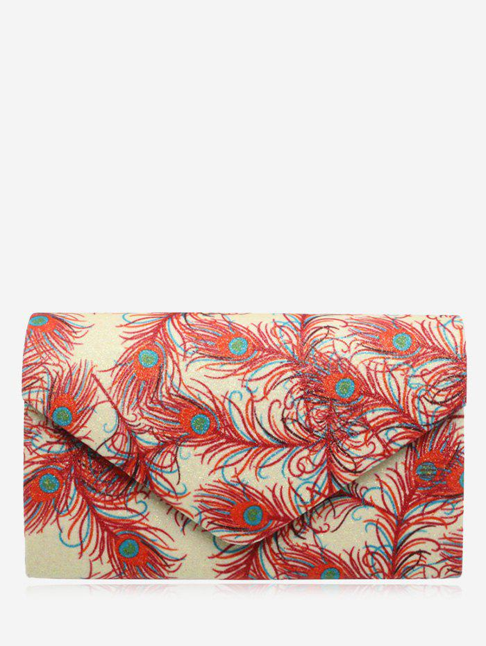 Print Envelope Sparkle Clutch Bag - RED