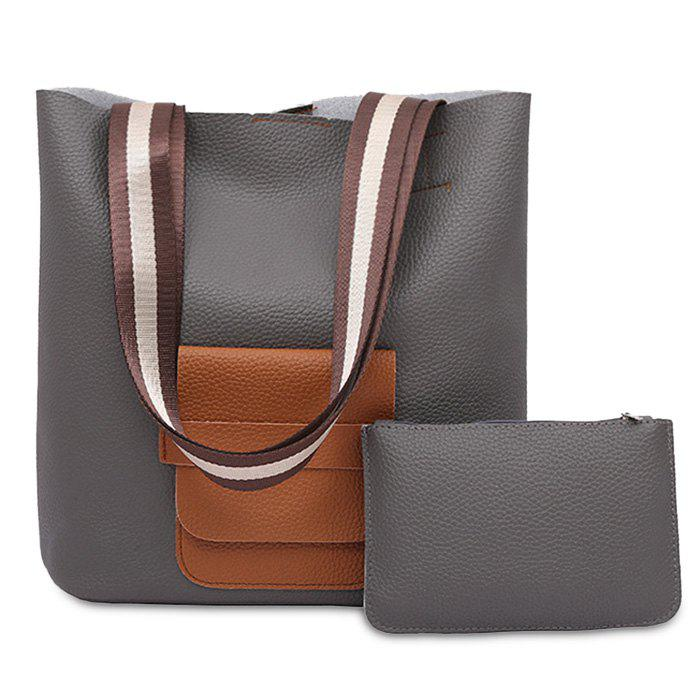 Color Block 2 Pieces Shoulder Bag Set - DEEP GRAY
