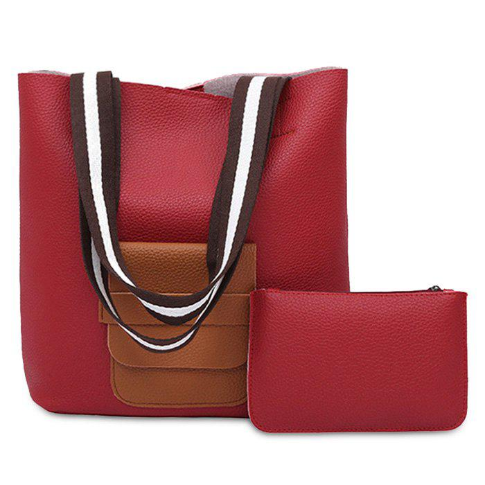 Color Block 2 Pieces Shoulder Bag Set - RED