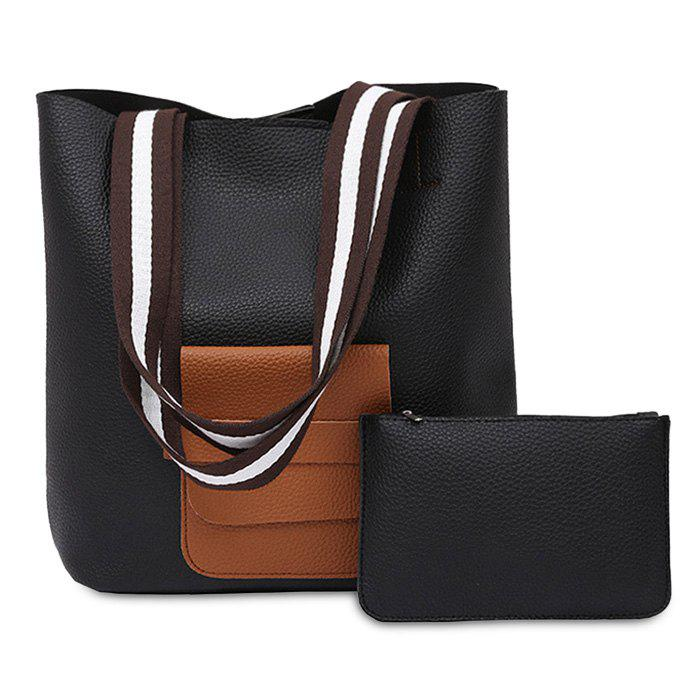 Color Block 2 Pieces Shoulder Bag Set - BLACK