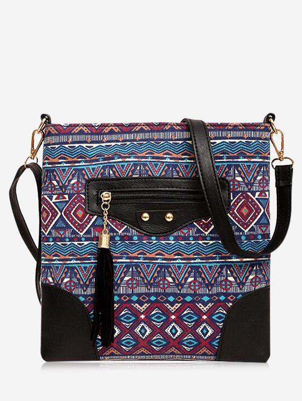Tribal Print Tassel Crossbody Bag - RED