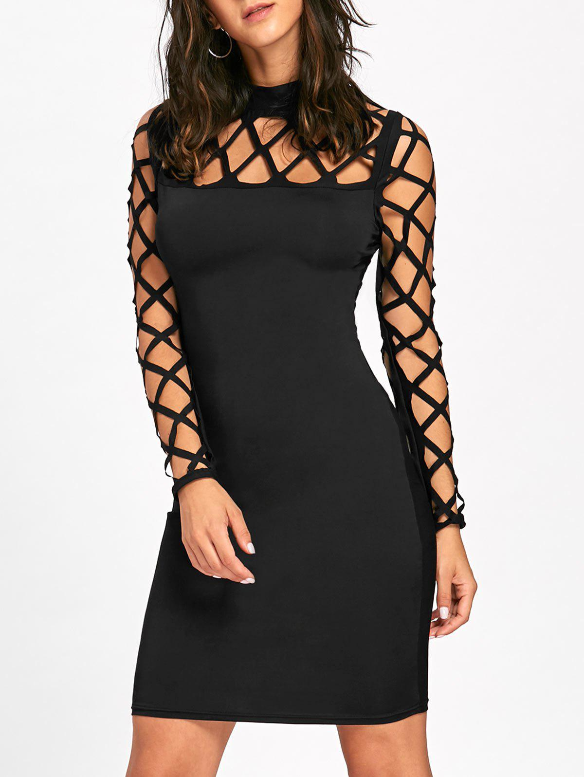 Cut Out Argyle Long Sleeve Bodycon Dress от Dresslily.com INT