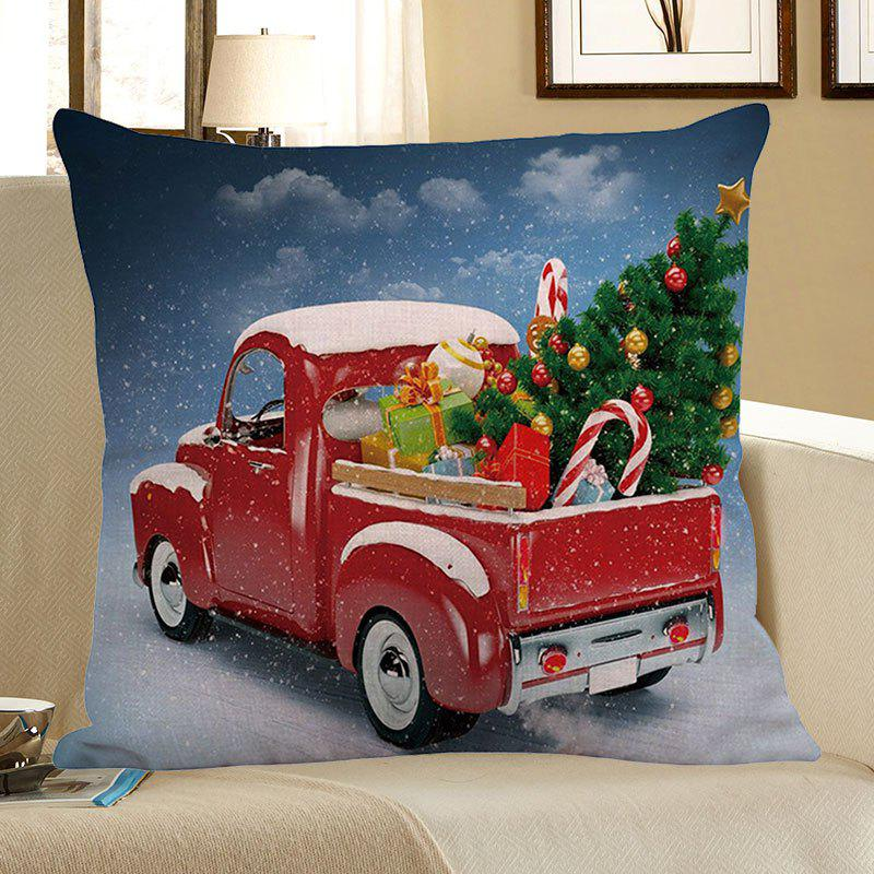 Christmas Car Printed Square Pillow Case - COLORFUL W18 INCH * L18 INCH