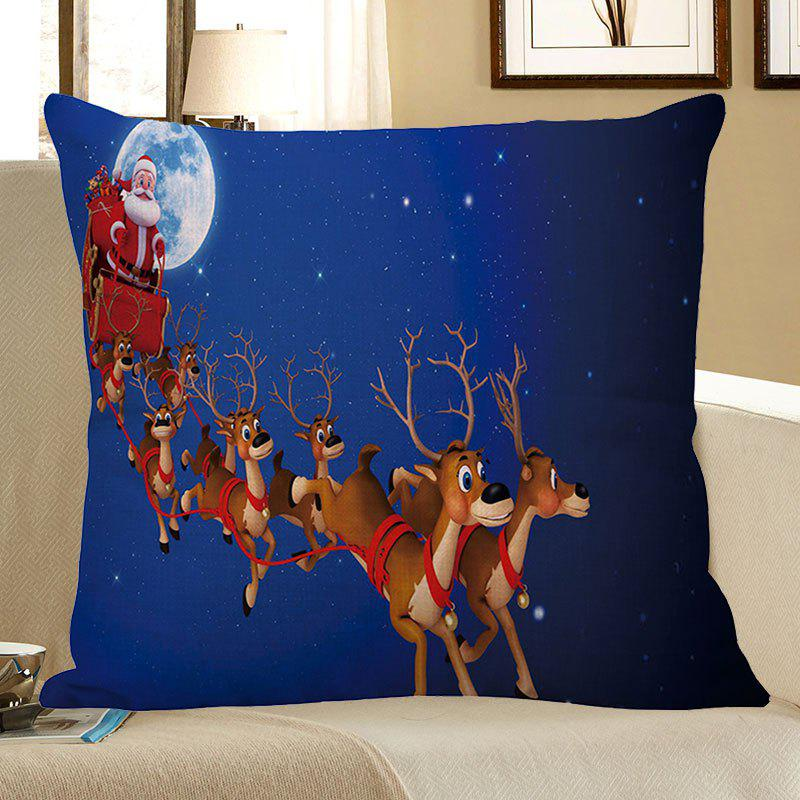 Home Decor Christmas Carriage Elk Printed Pillow Case - BLUE W18 INCH * L18 INCH