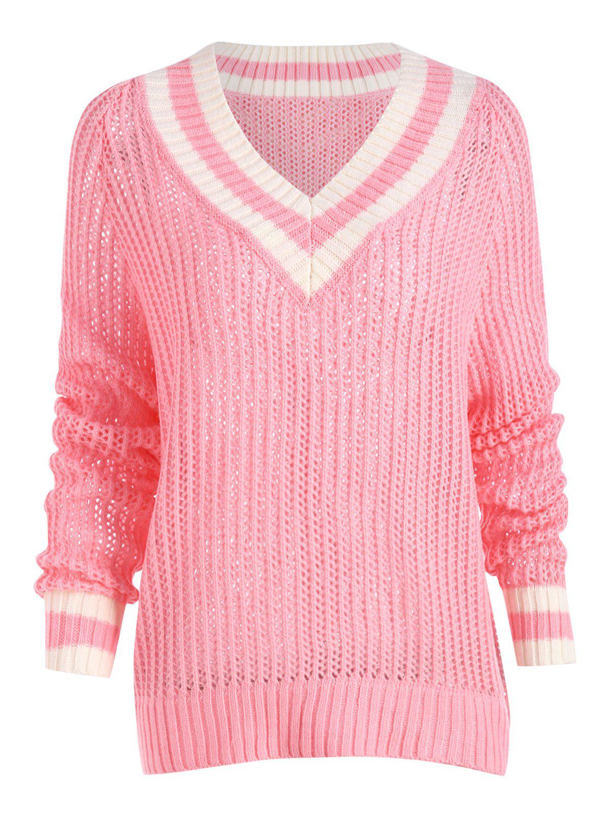 Chunky Knit High Low Tennis Plus Size Sweater - PINK 2XL