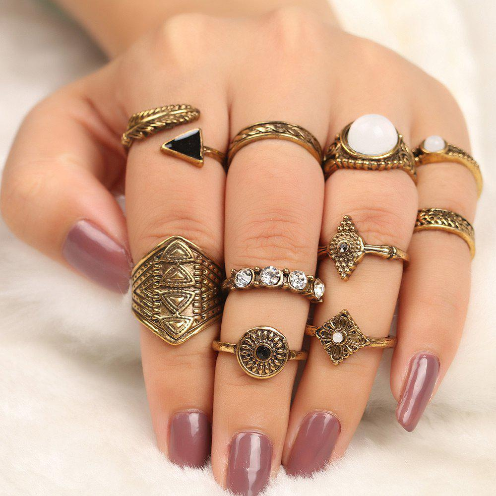 10 Pcs Faux Gem Embellished Vintage Rings - GOLDEN