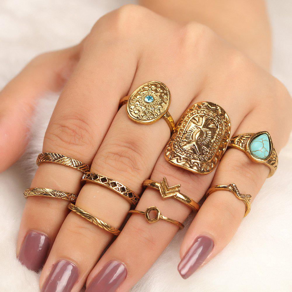 10 Pcs Bohemia Shield Arrow Rings - Or