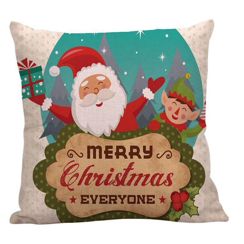 Happy Santa Claus Printed Square Pillow Case - COLORFUL W18 INCH * L18 INCH