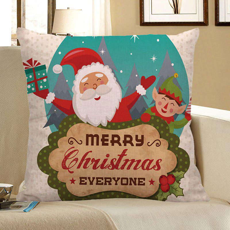 Happy Santa Claus Printed Square Pillow Case santa claus deer cushion throw pillow case