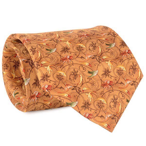 Animal and Flower Vine Printed 9CM Width Tie - EARTHY
