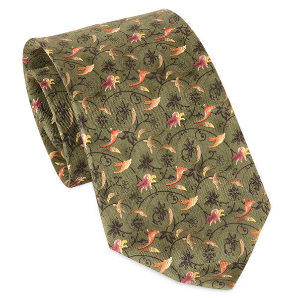 Animal and Flower Vine Printed 9CM Width Tie - GRASS GREEN