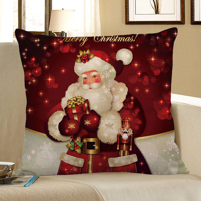 Santa Claus Pattern Linen Pillow Case santa claus elk cart snowflakes printed pillow case