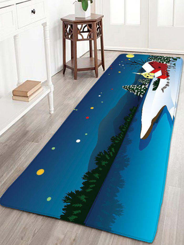 Skidproof Flannel Thin Christmas Snow Night Rug - BLUE W16 INCH * L47 INCH