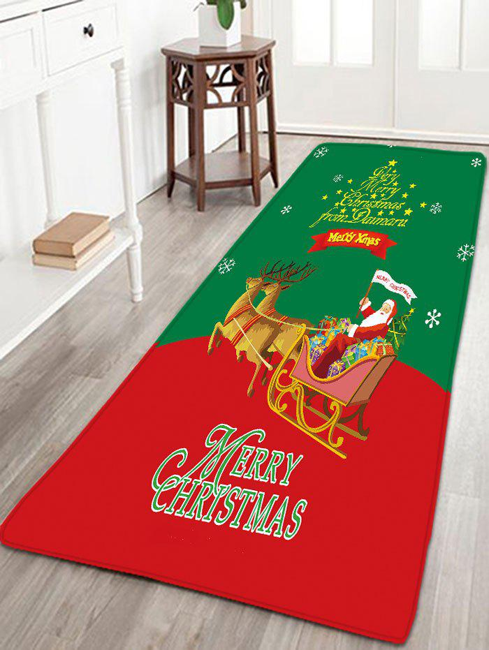 Christmas Sled Flannel Skidproof Thin Bath Rug - RED/GREEN W16 INCH * L47 INCH