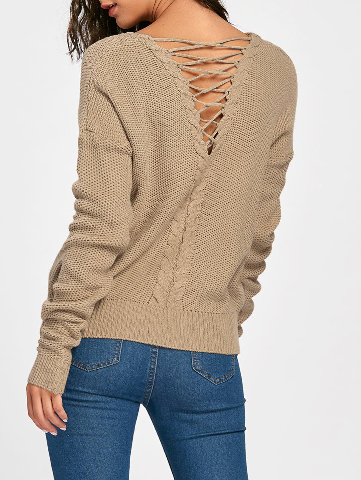 Back Lace Up Cable Knitted Sweater lace up back sweater