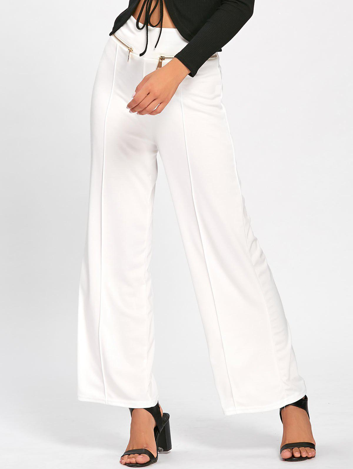Metallic Zip High Waisted Wide Leg Pants - WHITE M
