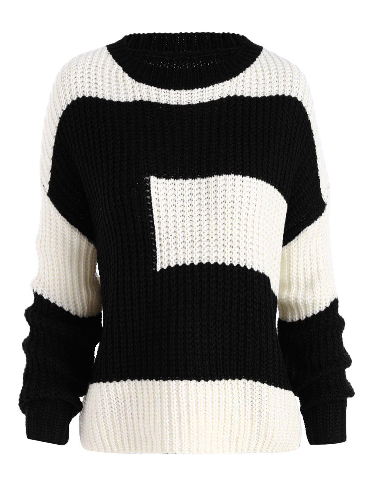 2018 Color Block Chunky Boyfriend Plus Size Sweater BLACK ONE SIZE ...