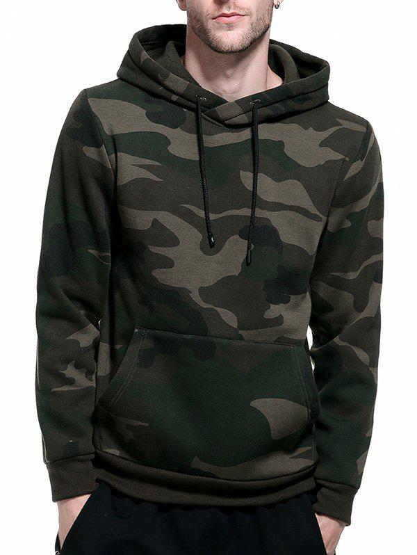 Fleece Camouflage Pocket Hoodie - ARMY GREEN 2XL