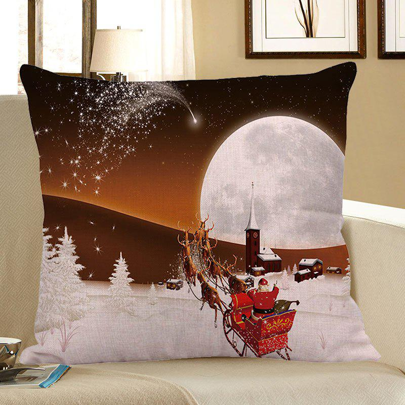 Stars and Christmas Carriage Pattern Square Pillow Case - WHITE/BROWN W18 INCH * L18 INCH