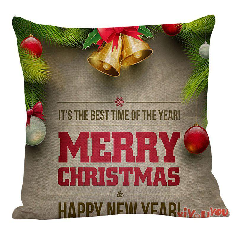 Home Decor Christmas Bell and Letters Printed Pillow Case - COLORFUL W18 INCH * L18 INCH