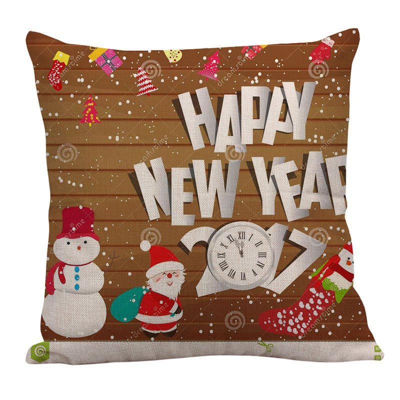 Father Christmas and Snowman Pattern Linen Pillow Case - COLORFUL W18 INCH * L18 INCH