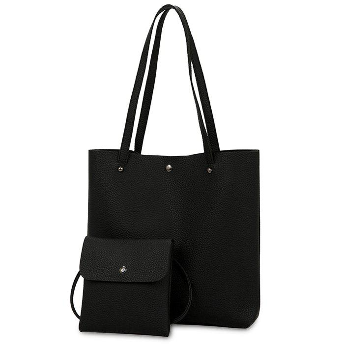 Rivet 2 Pieces Shoulder Bag Set - BLACK