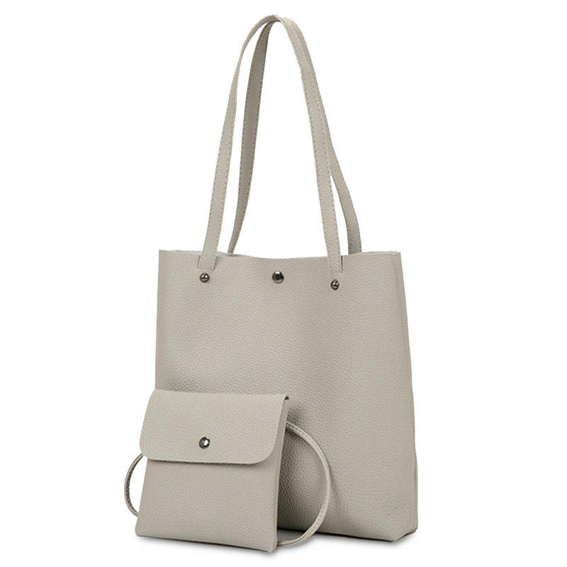 Rivet 2 Pieces Shoulder Bag Set - LIGHT GRAY