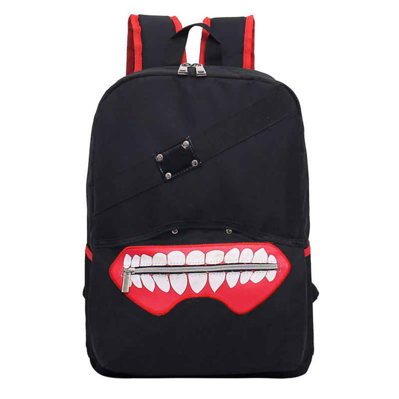 Color Block Rivet Lips Backpack - BLACK