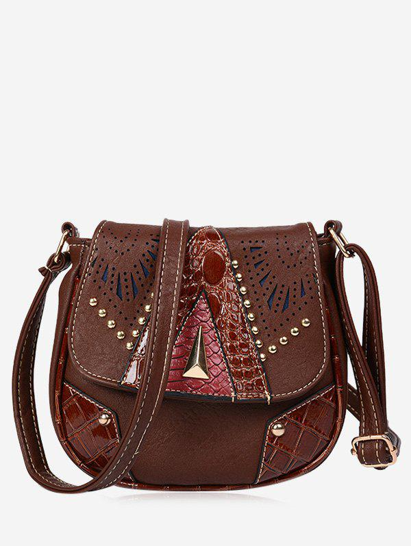 Hollow Out Geometric Rivet Crossbody Bag - BROWN