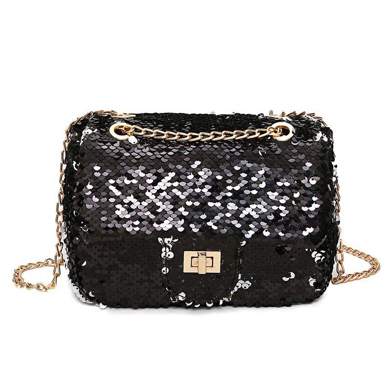 Sparkle Chain Crossbody Bag - BLACK